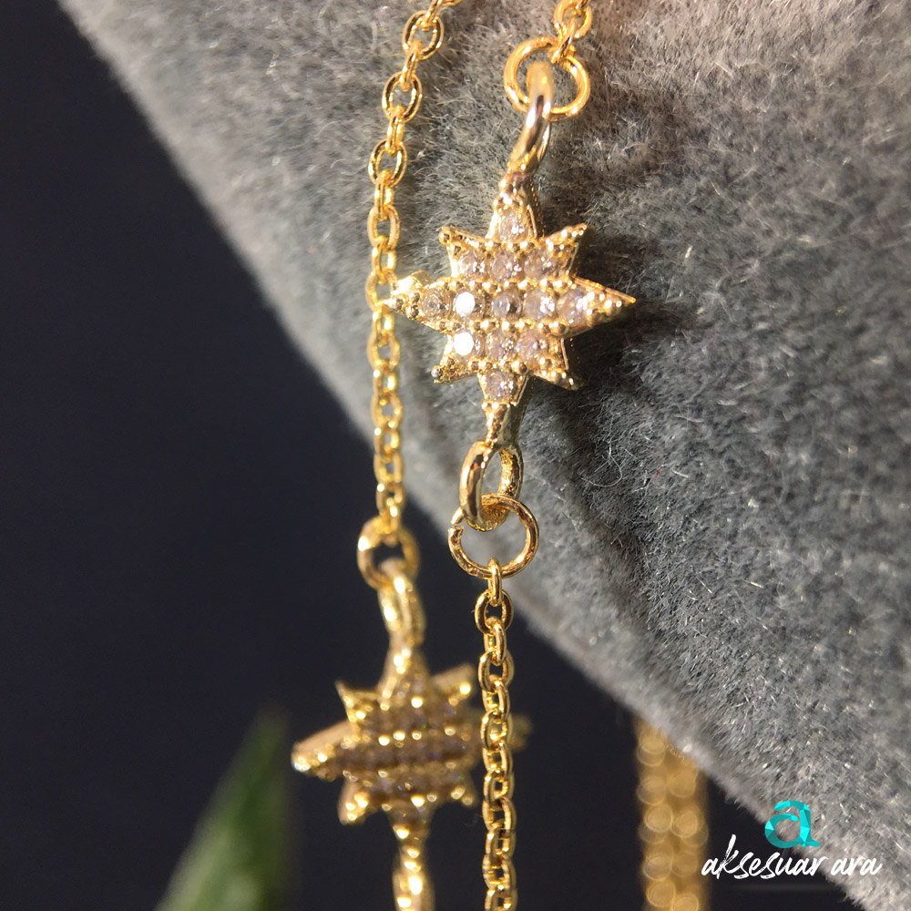 İkiz Yıldızlar Taş İşlemeli Bayan Bileklik| ID00291