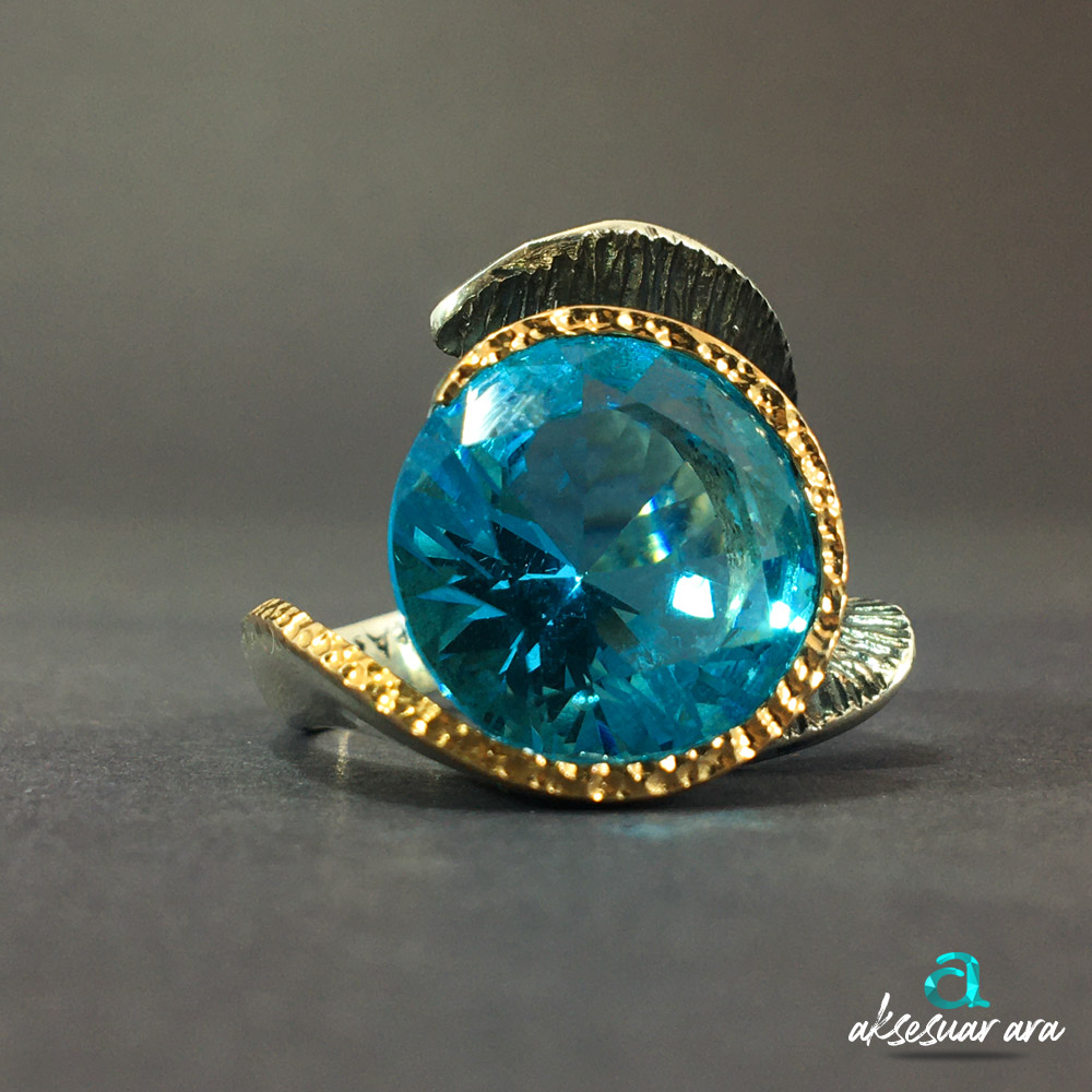 Aquamarin Doğal Taşlı Luxry 925 Ayar Gümüş Yüzük | ID00298