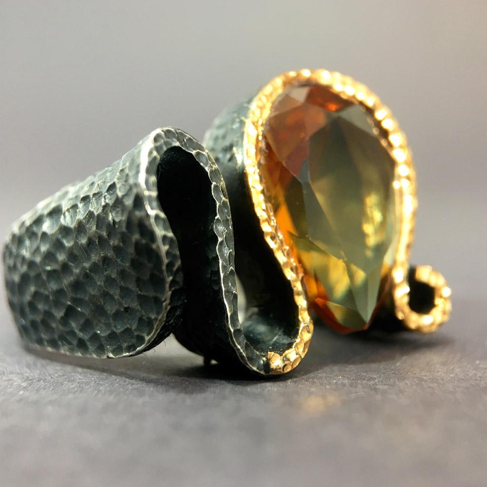 Doğal Zultanit Taşlı Özel Tasarım 925 Ayar Gümüş Bayan Yüzük | ID00299