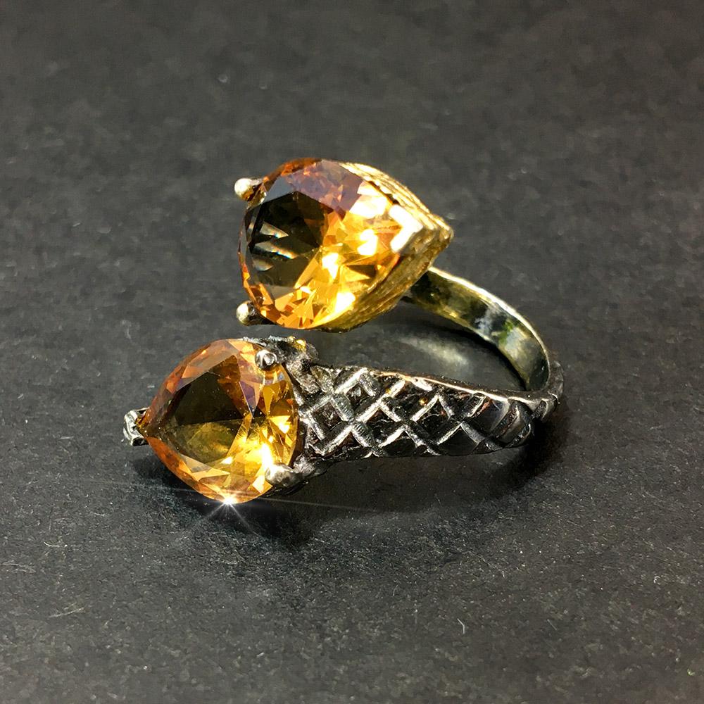 İkiz Zultanit Doğal Taşlı 925 Ayar Gümüş Tasarım Yüzük | ID00300