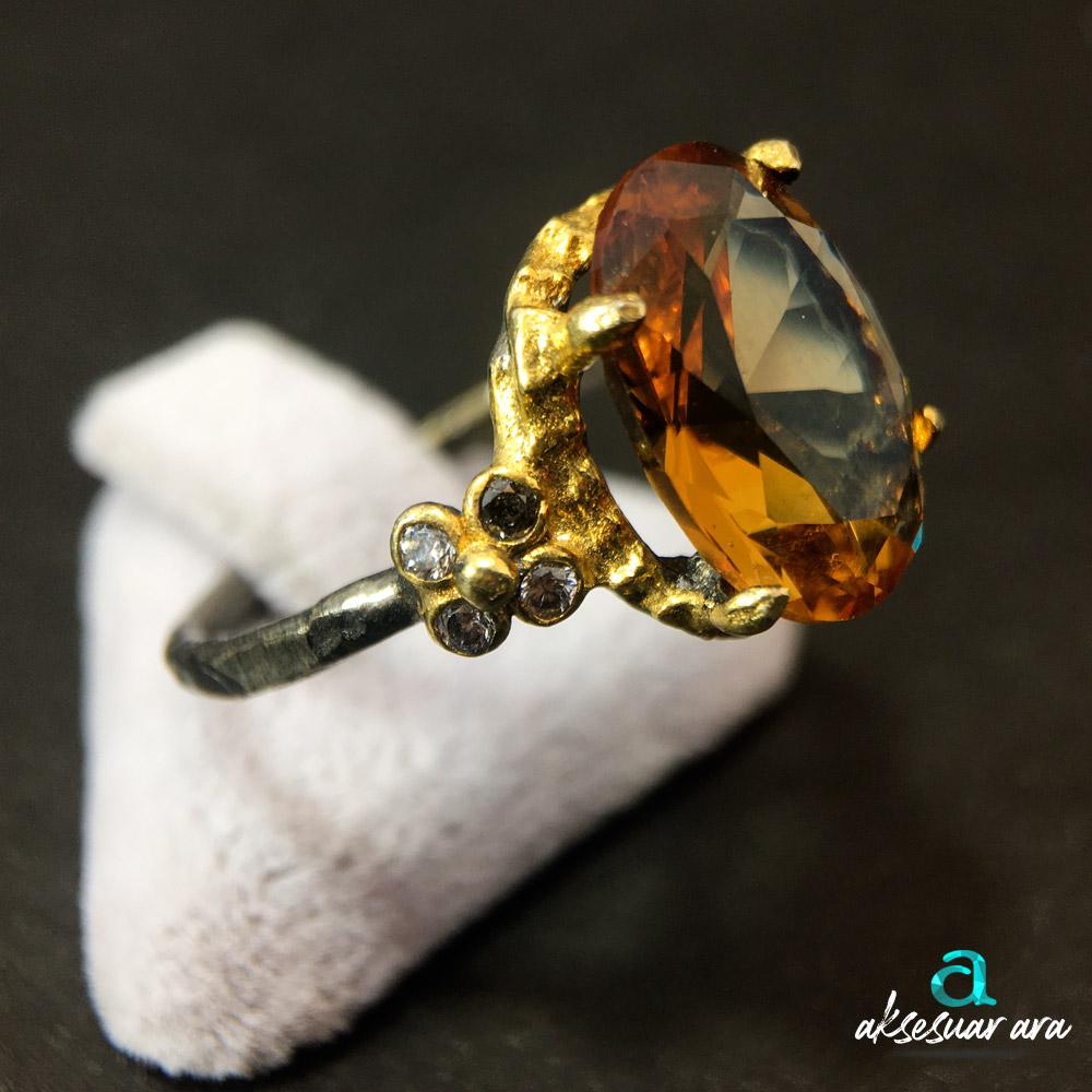 Elite Zultanit Doğal Taşlı 925 Ayar Gümüş Tasarım Yüzük | ID00305