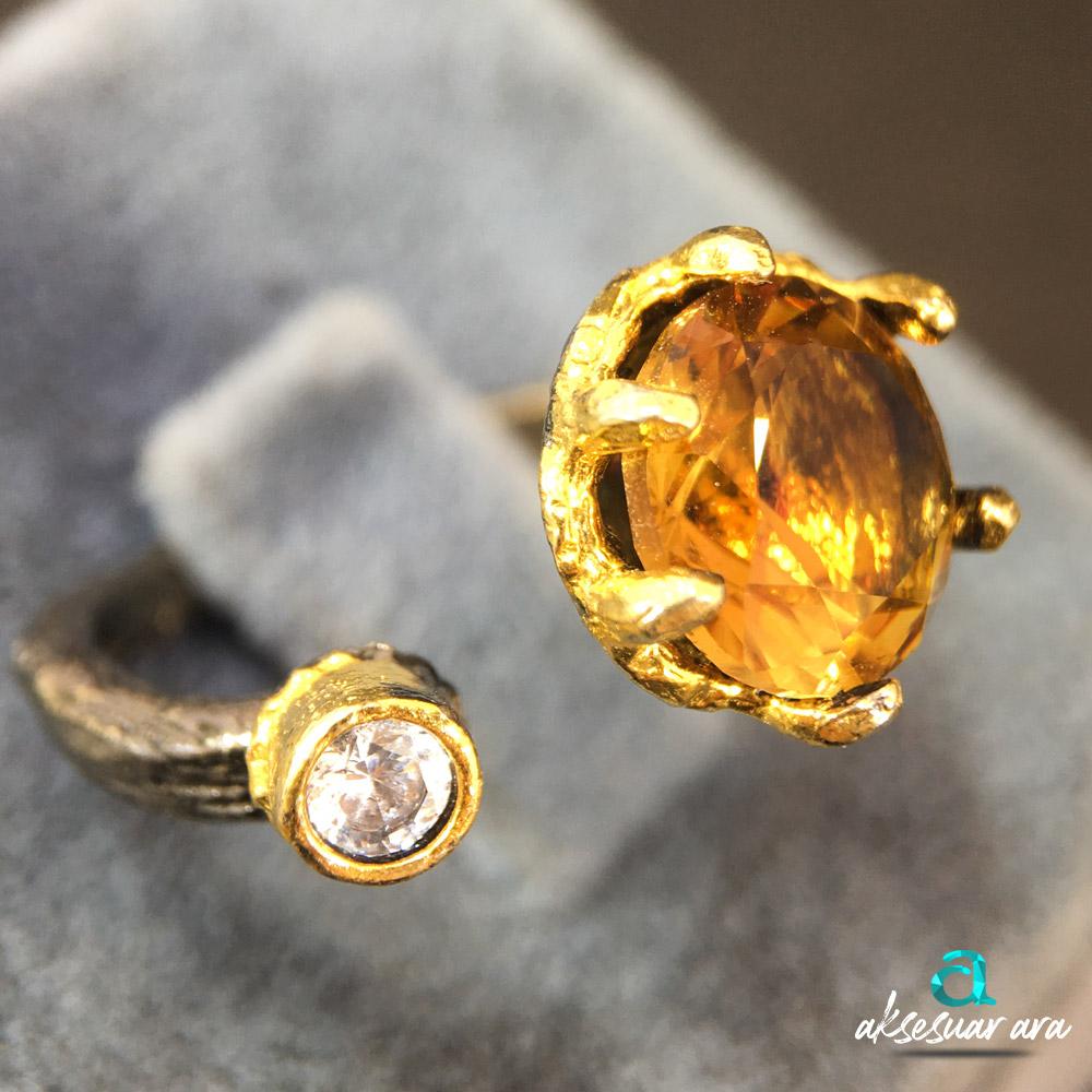 Sisters Zultanit Doğal Taşlı Eskitme 925 Ayar Gümüş Tasarım Yüzük | ID00308