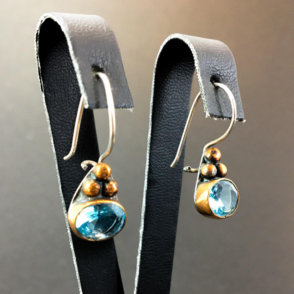 Any Aquamarin Doğal Taşlı El Yapımı Tasarım 925 Ayar Gümüş Küpe I ID00311