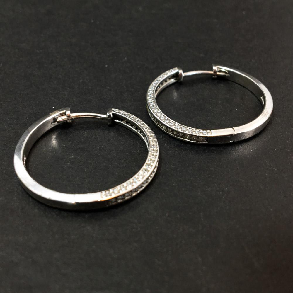 Tamtur Üç Boyutlu Zirkon Doğal Taşlı Tasarım 925 Ayar Gümüş Küpe I ID00314