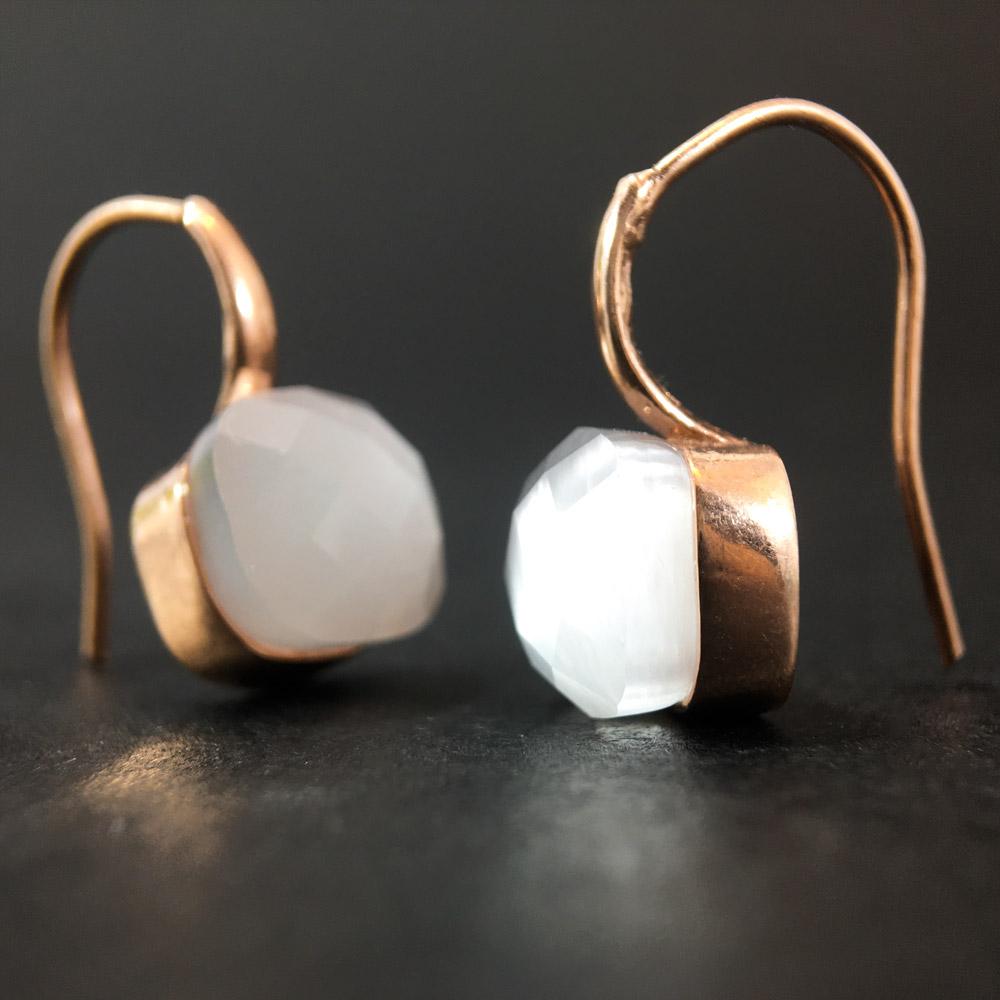 Elis Kedi Gözü Doğal Taşlı El Yapımı Tasarım 925 Ayar Gümüş Küpe | ID00315
