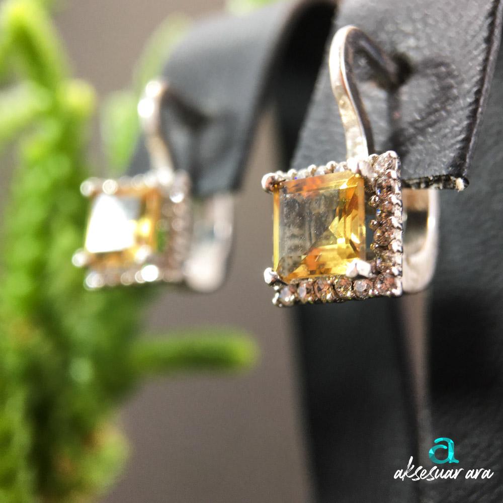 Anita Zultanit Doğal Taşlı El Yapımı Tasarım 925 Ayar Gümüş Küpe | ID00316
