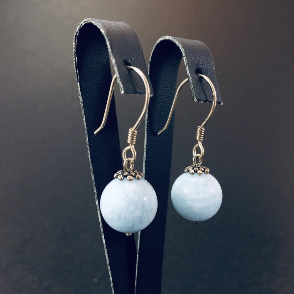Adel Aquamarin Doğal Taşlı El Yapımı Tasarım 925 Ayar Gümüş Küpe| ID00317