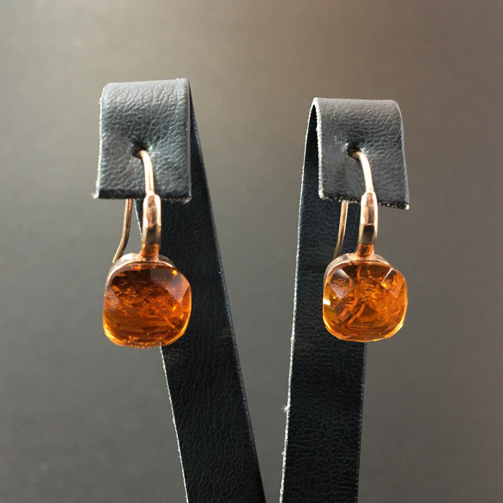 Tanem Sitrin Doğal Taşlı El Yapımı Tasarım 925 Ayar Gümüş Küpe | ID00321