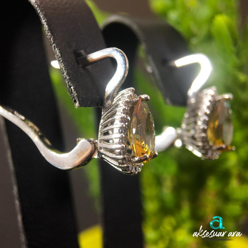 Pamira Zultanit Doğal Taşlı El Yapımı Tasarım 925 Ayar Gümüş Küpe | ID00324