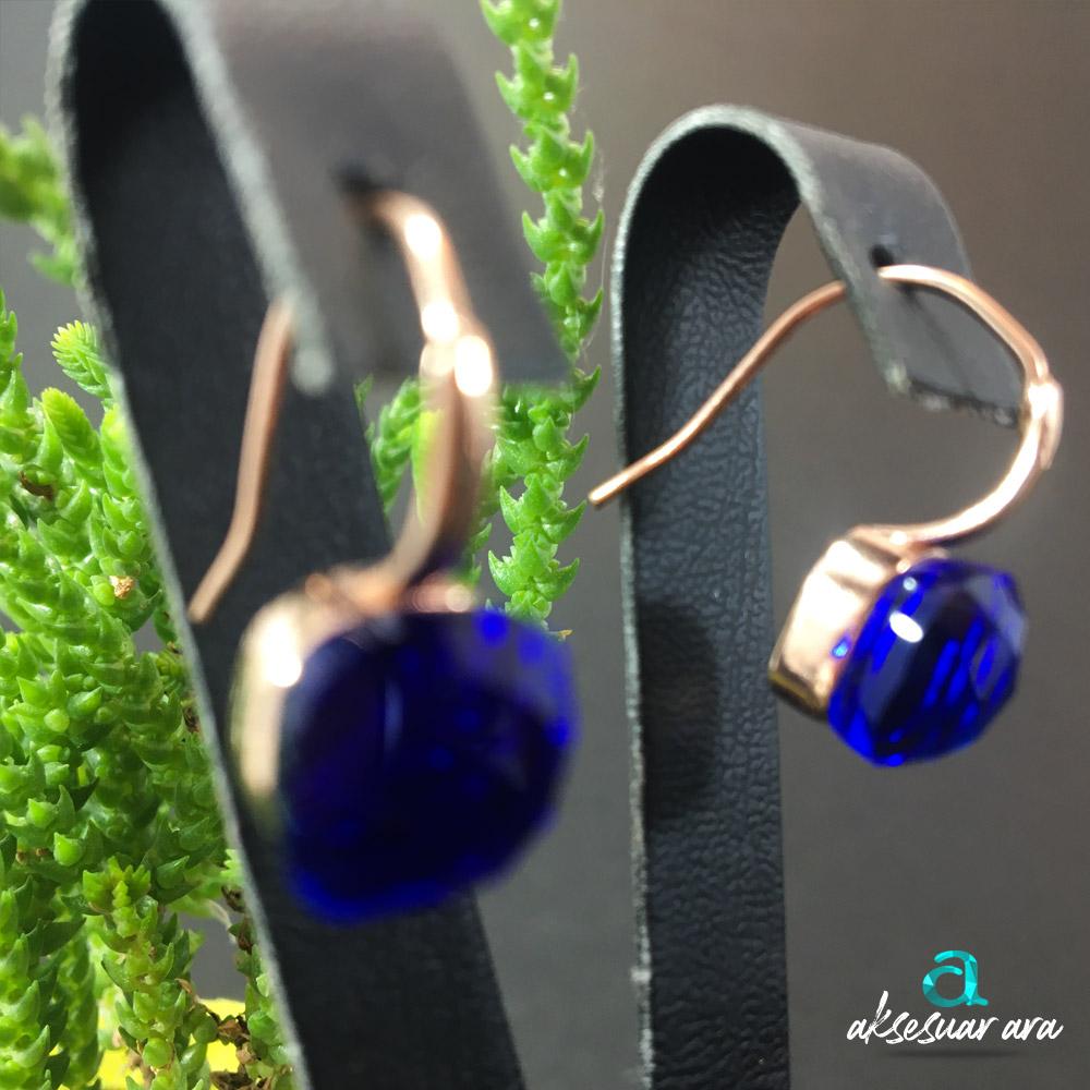 Sare Safir Doğal Taşlı El Yapımı Tasarım 925 Ayar Gümüş Küpe | ID00325