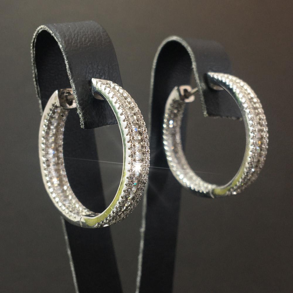 Swarovski ve Baget Kesim Tamtur Zirkon Doğal Taşlı El Yapımı Tasarım 925 Ayar Gümüş Küpe I ID00327